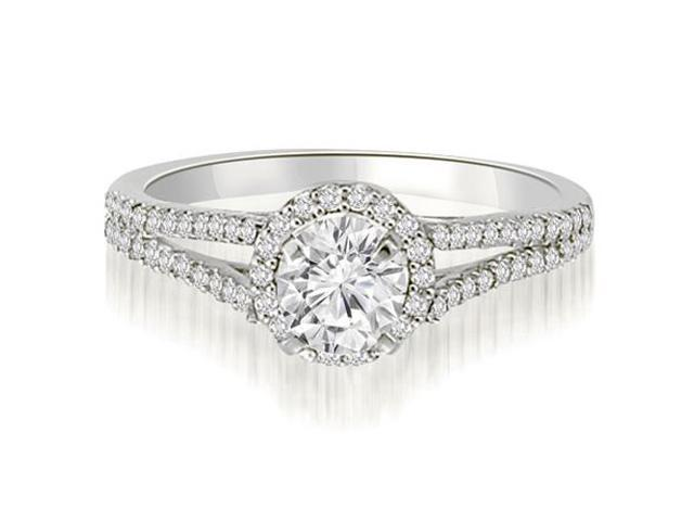 0.70 cttw. Halo Split-Shank Round Cut Diamond Engagement Ring in Platinum (VS2, G-H)