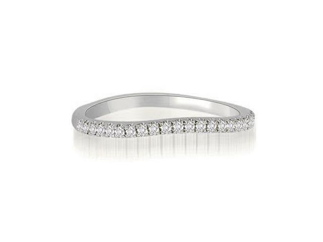 0.15 cttw. Curved Petite Round Cut Diamond Wedding Ring in 14K White Gold (SI2, H-I)
