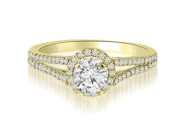 0.85 cttw. Halo Split-Shank Round Cut Diamond Engagement Ring in 14K Yellow Gold (SI2, H-I)
