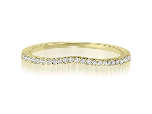 0.15 cttw. Curved Petite Round Cut Diamond Wedding Ring in 14K Yellow Gold (VS2, G-H)
