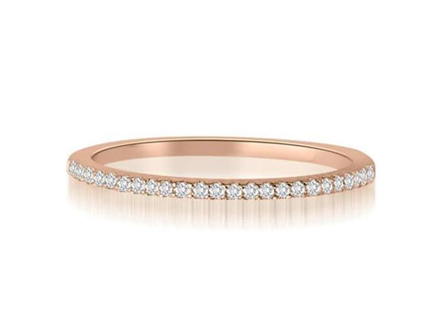 0.10 cttw. Classic Petite Round Cut Diamond Wedding Ring in 18K Rose Gold (VS2, G-H)