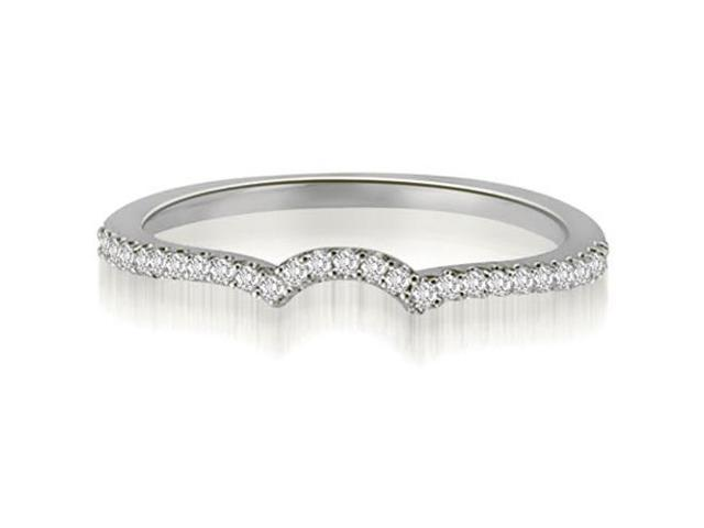 0.15 cttw. Petite Round Cut Diamond Curved Wedding Ring in 14K White Gold (VS2, G-H)