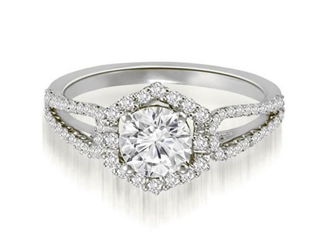 0.85 cttw. Halo Round Cut Diamond Split-Shank Engagement Ring in 18K White Gold (SI2, H-I)