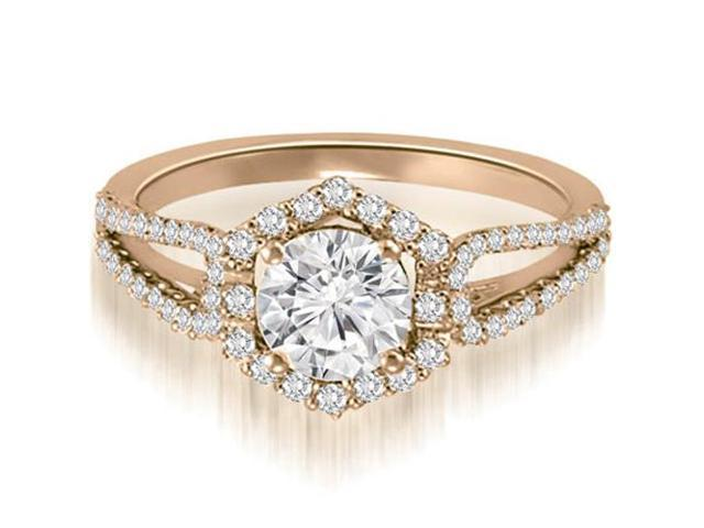 1.10 cttw. Halo Round Cut Diamond Split-Shank Engagement Ring in 14K Rose Gold (VS2, G-H)