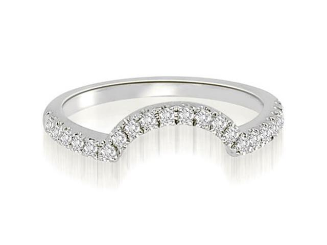0.20 cttw. Curved Round Cut Diamond Wedding Ring in 18K White Gold (VS2, G-H)