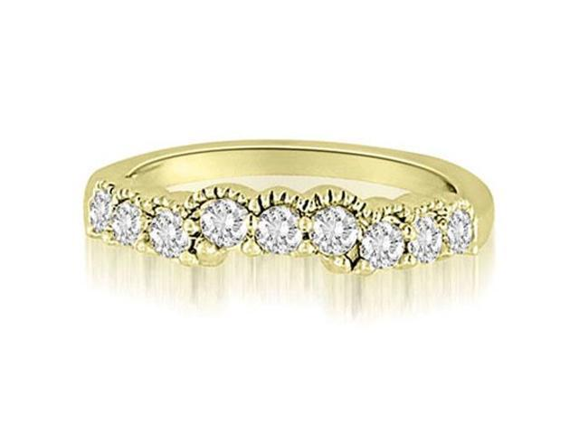 0.50 cttw. Milgrain Curved Round Cut Diamond Wedding Ring in 18K Yellow Gold (SI2, H-I)