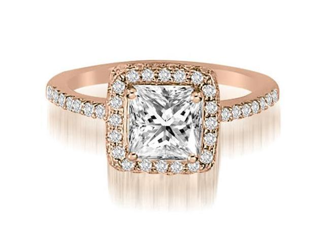 1.25 cttw. Princess And Round Cut Diamond Halo Engagement Ring in 18K Rose Gold (SI2, H-I)