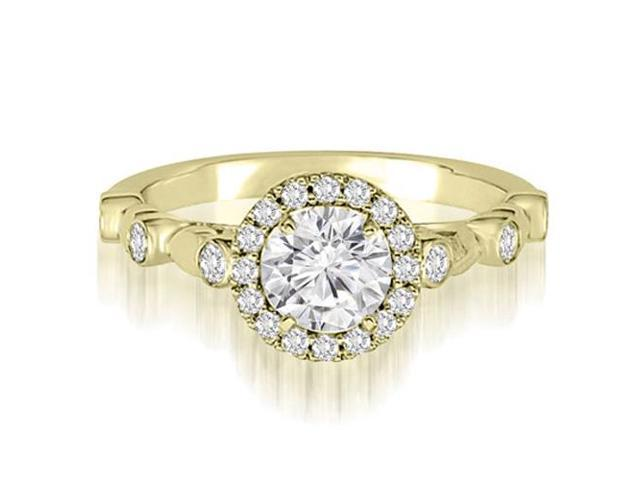 1.22 cttw. Halo Round Cut Diamond Engagement Ring in 18K Yellow Gold (VS2, G-H)