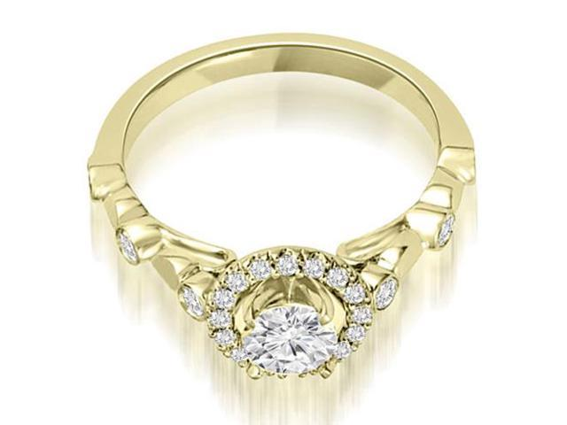 0.97 cttw. Halo Round Cut Diamond Engagement Ring in 18K Yellow Gold (VS2, G-H)