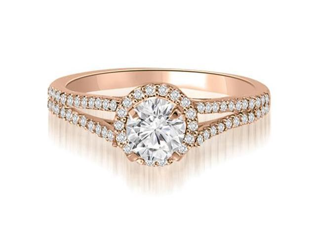 0.70 cttw. Halo Split-Shank Round Cut Diamond Engagement Ring in 18K Rose Gold (SI2, H-I)