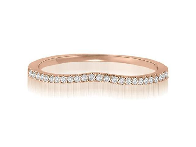 0.15 cttw. Curved Petite Round Cut Diamond Wedding Ring in 18K Rose Gold (SI2, H-I)