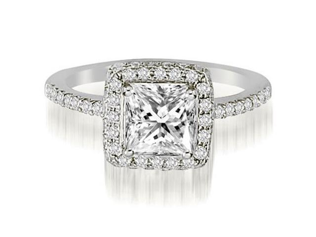 0.95 cttw. Princess And Round Cut Diamond Halo Engagement Ring in 18K White Gold (VS2, G-H)