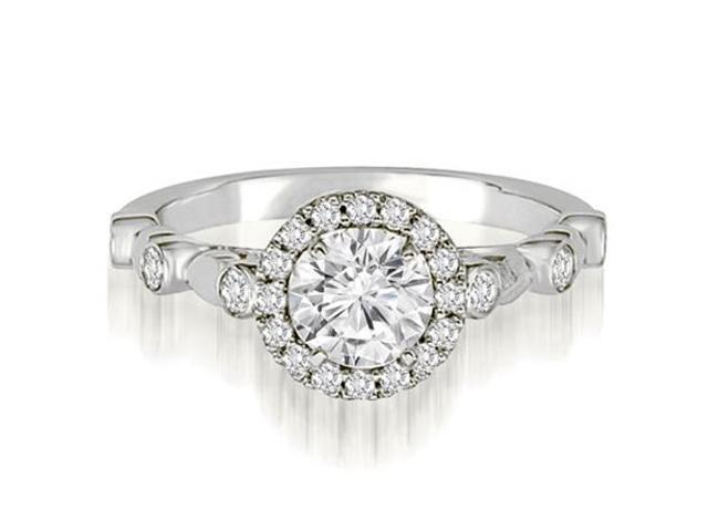 1.22 cttw. Halo Round Cut Diamond Engagement Ring in Platinum (SI2, H-I)