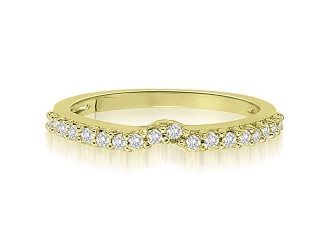 0.30 cttw. Curved Round Cut Petite Diamond Wedding Ring in 14K Yellow Gold (SI2, H-I)