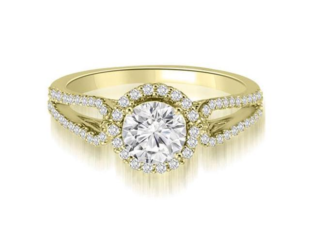 0.80 cttw. Halo Split-Shank Round Diamond Engagement Ring in 14K Yellow Gold (SI2, H-I)
