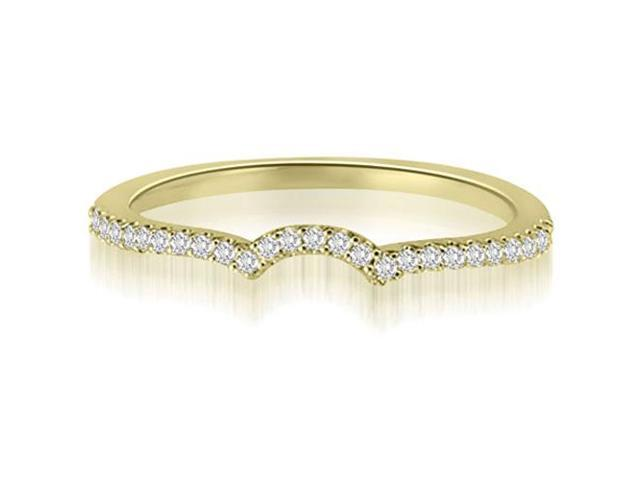 0.15 cttw. Petite Round Cut Diamond Curved Wedding Ring in 14K Yellow Gold (VS2, G-H)