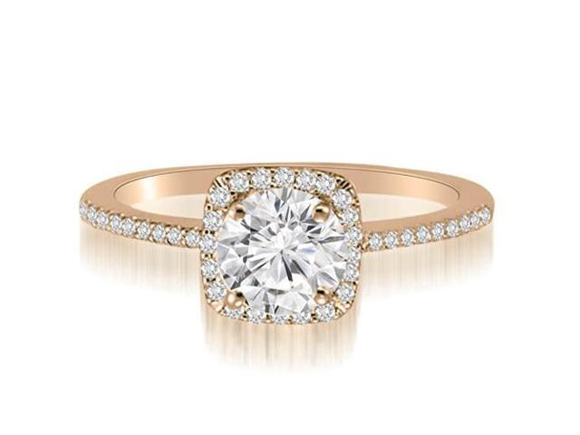 0.95 cttw. Petite Halo Round Cut Diamond Engagement Ring in 14K Rose Gold (VS2, G-H)