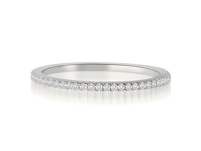 0.10 cttw. Classic Petite Round Cut Diamond Wedding Ring in 18K White Gold (SI2, H-I)