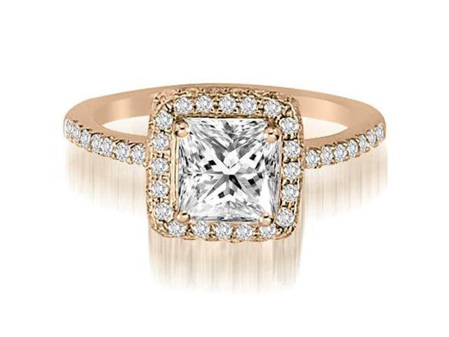 0.95 cttw. Princess And Round Cut Diamond Halo Engagement Ring in 14K Rose Gold (VS2, G-H)