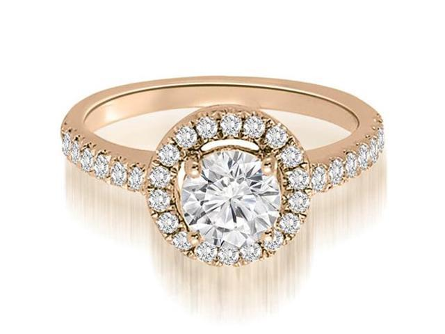 1.25 cttw. Halo Petite Round Cut Diamond Engagement Ring in 14K Rose Gold (VS2, G-H)