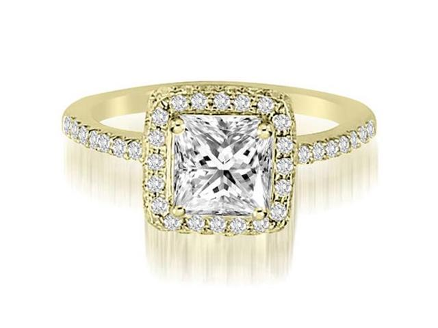1.00 cttw. Princess And Round Cut Diamond Halo Engagement Ring in 18K Yellow Gold (VS2, G-H)