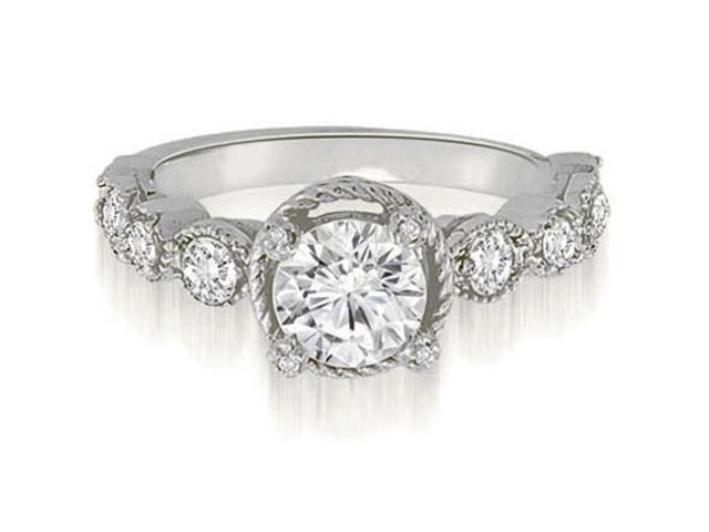 1.57 cttw. Antique Milgrain Round Cut Diamond Engagement Ring in 14K White Gold (SI2, H-I)