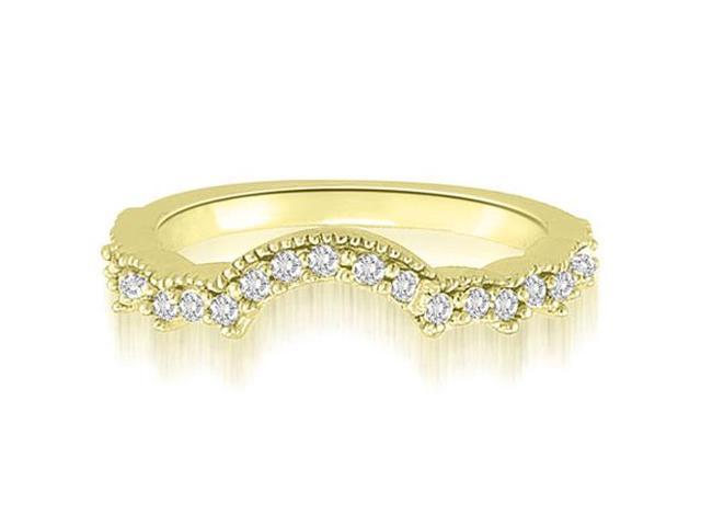 0.23 cttw. Milgrain Curved Petite Round Cut Diamond Wedding Ring in 14K Yellow Gold (SI2, H-I)