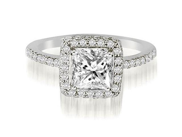 1.25 cttw. Princess And Round Cut Diamond Halo Engagement Ring in Platinum (VS2, G-H)