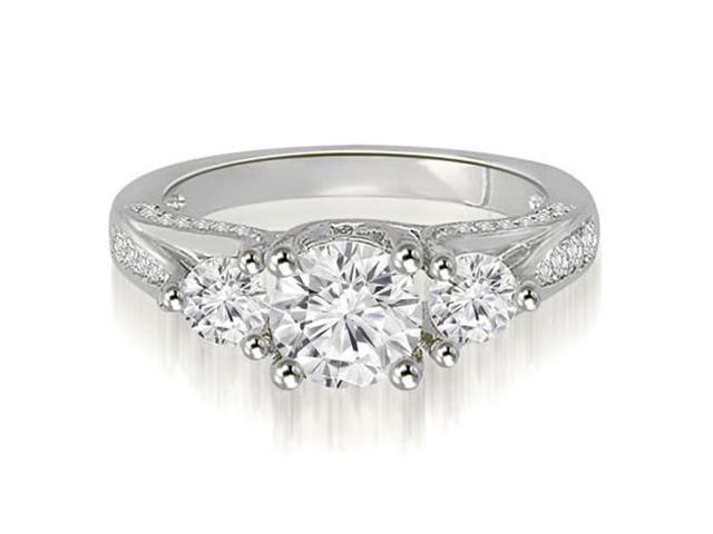 1.74 cttw. Three-Stone Lucida Round Cut Diamond Engagement Ring in 14K White Gold
