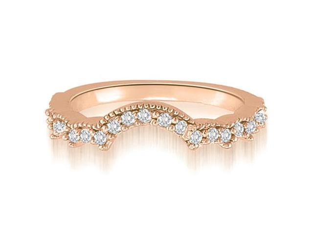 0.23 cttw. Milgrain Curved Petite Round Cut Diamond Wedding Ring in 18K Rose Gold (SI2, H-I)