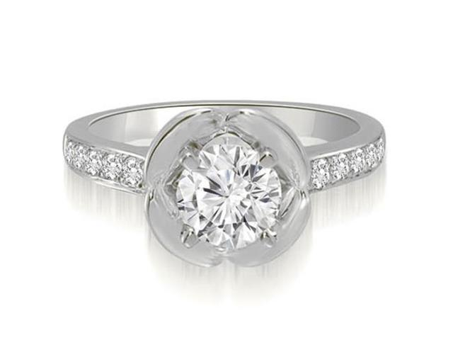 1.10 cttw. Round Cut Diamond Engagement Ring in 14K White Gold