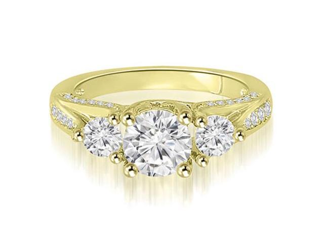 1.74 cttw. Three-Stone Lucida Round Cut Diamond Engagement Ring in 14K Yellow Gold