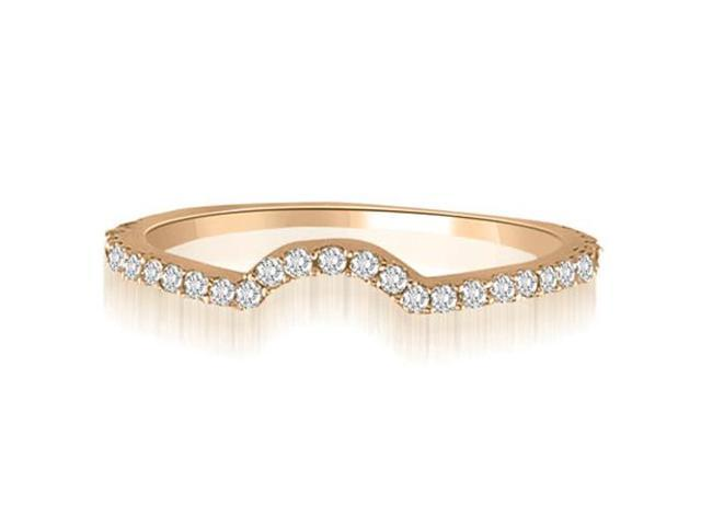 0.25 cttw. Curved Petite Round Cut Diamond Wedding Ring in 14K Rose Gold (SI2, H-I)