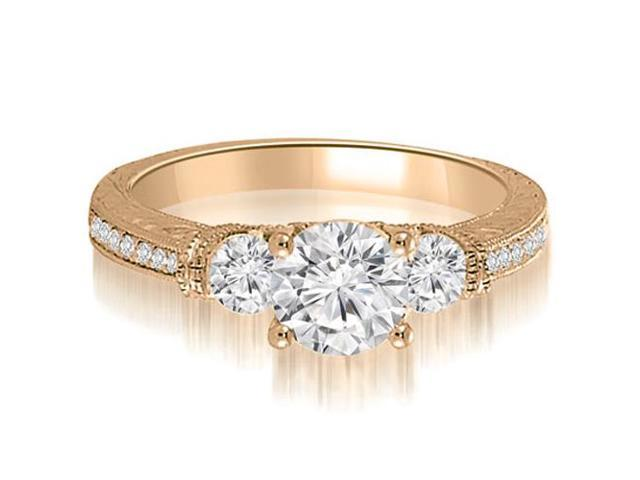1.01 cttw. Antique Three-Stone Round Diamond Engagement Ring in 14K Rose Gold