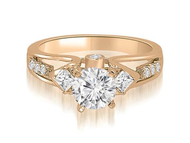 0.85 cttw. Vintage Round And Princess Diamond Engagement Ring in 14K Rose Gold