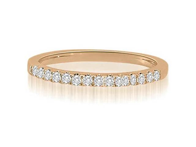 0.22 cttw. Shared-Prong Round Cut Diamond Wedding Ring in 14K Rose Gold (SI2, H-I)