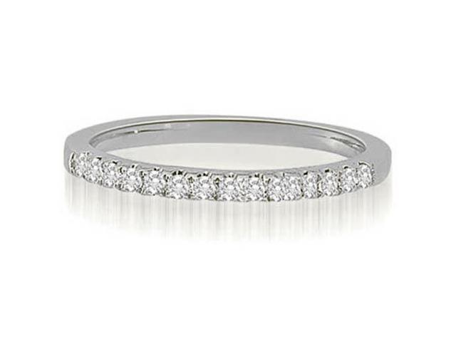 0.22 cttw. Shared-Prong Round Cut Diamond Wedding Ring in 14K White Gold (VS2, G-H)
