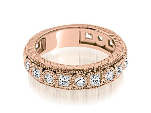 1.50 cttw. Antique Round And Princess Bezel Diamond Ring in 18K Rose Gold