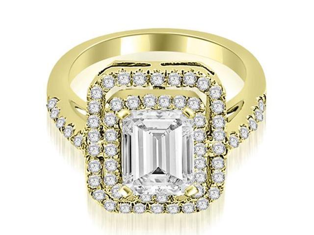 1.17 cttw. Double Halo Emerald Cut Diamond Engagement Ring in 18K Yellow Gold