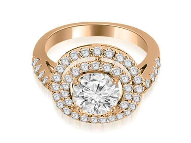 1.60 cttw. Double Halo Round Cut Diamond Engagement Ring in 14K Rose Gold