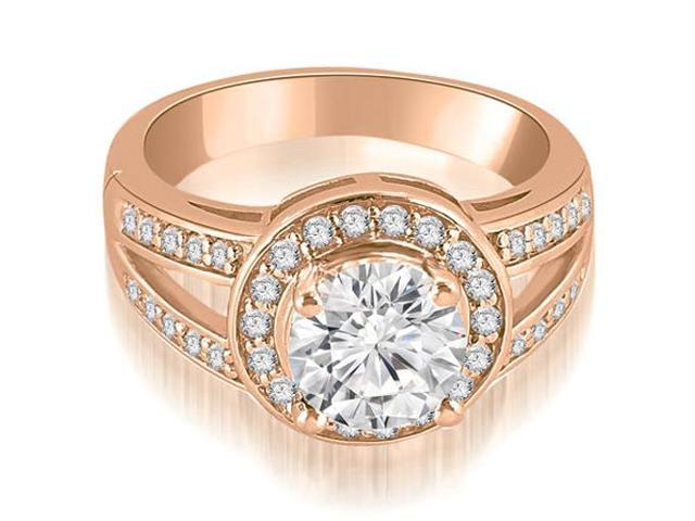 1.10 cttw. Halo Round Cut Diamond Engagement Diamond Ring in 18K Rose Gold