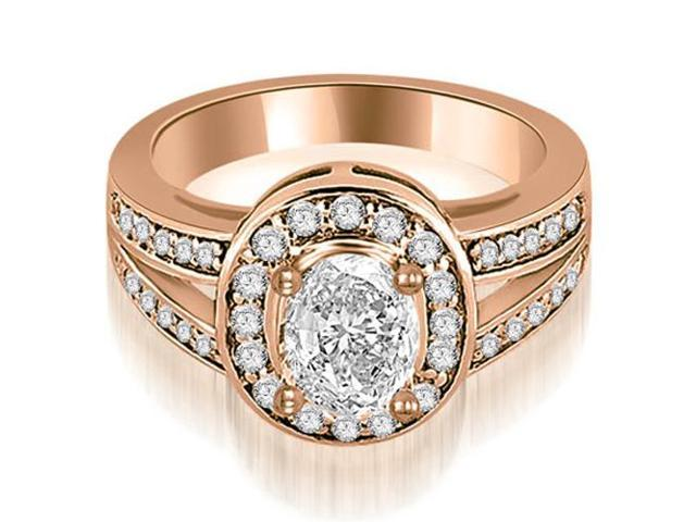 1.30 cttw. Halo Oval Cut Diamond Engagement Diamond Ring in 18K Rose Gold