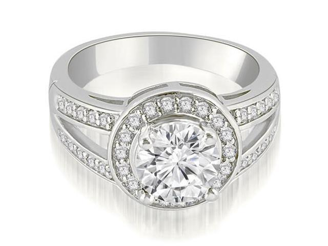1.35 cttw. Halo Round Cut Diamond Engagement Diamond Ring in 18K White Gold
