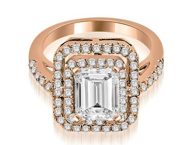 1.17 cttw. Double Halo Emerald Cut Diamond Engagement Ring in 18K Rose Gold