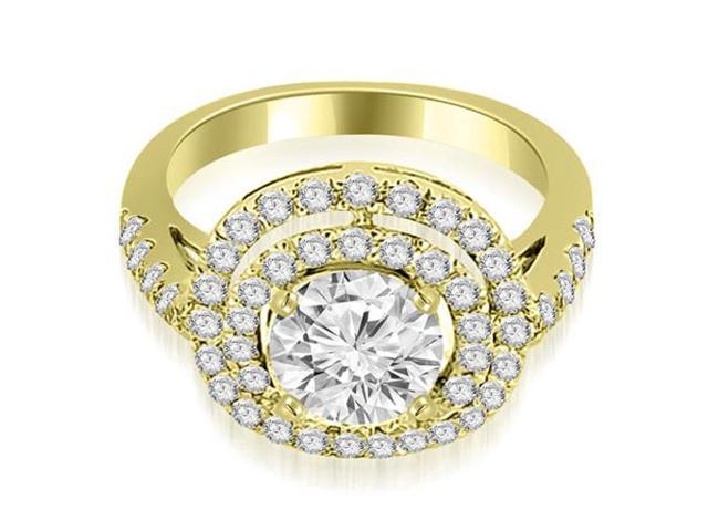 1.10 cttw. Double Halo Round Cut Diamond Engagement Ring in 14K Yellow Gold