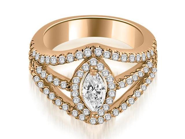 1.45 cttw. Halo Marquise Cut Diamond Engagement Diamond Ring in 14K Rose Gold