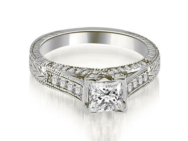 0.75 cttw. Antique Princess Cut Diamond Engagement Ring in 18K White Gold