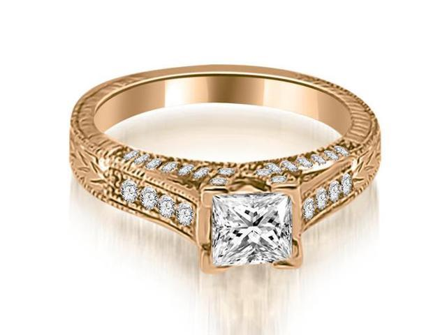 1.40 cttw. Antique Princess Cut Diamond Engagement Ring in 14K Rose Gold