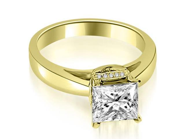 1.05 cttw. Princess Cut Diamond Engagement Ring in 14K Yellow Gold