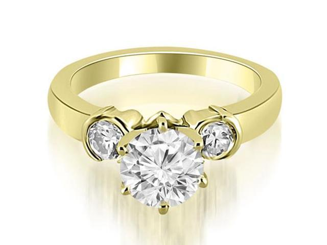 1.00 cttw. Half Bezel Round Cut Diamond Engagement Ring in 18K Yellow Gold